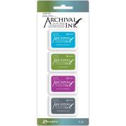 Ranger Wendy Vecchi Archival Mini Ink Pad Kit, Set 2 - Permanent Ink Pads, 4 pieces per kit