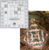 Bundle of Creative Grids Log Cabin Trim Tool for 20cm Finished Blocks Quilt Ruler (CGRJAW1) and Upstairs Downstairs Log Cabin Pattern by Cut Loose Press