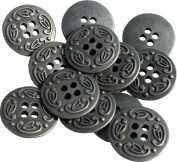 RaanPahMuang Metal Renaissance Button Round Mediaeval Antique Brass - 2cm x 50pcs, Antique Zinc