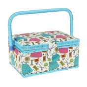 SewKit | 24cm x 18cm x 13cm Sewing Basket Organiser with Complete Sewing Kit Accessories Included | Wooden Sewing Basket Kit with Removable Tray for Sewing Mending | Blue | 220.7