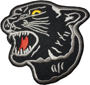 Panther Cat Zoo Safari Animal Wildlife DIY Sewing Iron on Applique Embroidered Patch by Ranger Return - Black
