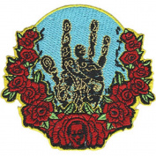 Jerry Garcia - Hand & Roses - Iron on or Sew on Embroidered Patch
