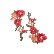 Buytra 2 Pieces Flower Patch Applique Embroideried Decorative Flowers Sew on Patches for Jeans, Jackets, Clothes, Bags