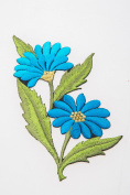Crewel Embroidery Kit Blue Floral Design Stump Work Flowery Decor Cloth Fabric