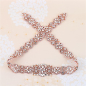 Bridal Sashes Appliques Rose Gold with Crystal Rhinestone Beaded Embellishment Handmade for DIY Wedding Dress Women Belts