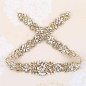Wedding Bridal Belt Appliques, 80cm x 4.8cm , Iron on, Crystal Rhinestone Beaded Decorative DIY Wedding Belt, Crystal sash, Wedding Sash, Dress Sash, Rhinestone Belt, Wedding Bridal Belt - Gold