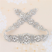Crystal Rhinestone Appliques with Stain Ribbons Sewn on or Hot Fix for DIY Dress Belts, Headbands, Headpieces, Neckline, Garters, Shoes, Bags - Sliver