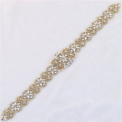 (RA series)45.6 cm Gold iron on diamante wedding dress appliques with glass rhinestones pearls for wedding dress sash belts by Sewing or iron on