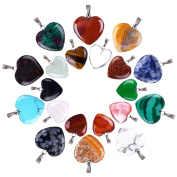 Outus 20 Pieces Heart Shape Stone Pendants Chakra Beads DIY Crystal Charms, 2 Different Sizes, Assorted Colour