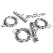 Heather's cf 138 Pieces Silver Tone Small Basic Clasp Toggle Findings Jewellery Making 12X9/15X4mm)