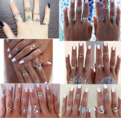 Hommie 39 Pieces Turkish Arrow Moon Turquoise Joint Knuckle Nail Midi Ring Set Boho Ring Set