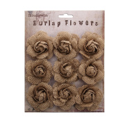 RiscaWin (9 Pcs) Crafts Handmade Burlap Small Rose Flowers DIY Findings Shabby Chic Flowers