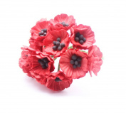 RED 50 Mulberry Paper Poppy Flower Wedding Card Craft 2 cm.
