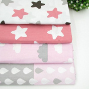 4pcs/lot 40cm *50cm pink Stars Clouds Raindrops Printed Cotton Fabric for Home Textile Bedding Quilting Tissue to Patchwork