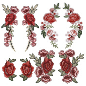 OPount 4 Set 8 Pieces Multifarious Embroidery Lace Flower Applique Sew On Patches DIY Collar Bust Dress Bag Shoes Craft Decor