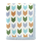 Hudson Baby Print Coral Fleece Blanket, Blue Chevron