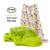 Baby Tooshy Nappy Pail Liner Set (2) - Large Capacity Wet Bag for Cloth & Disposable Nappies. Effectively Contains Stinky Nappies. Heavy Duty PUL offers Superior Leak Free Protection. Dinos