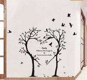 Boodecal Nature Series Heart Tree Quote Wall Decal Mural Sticker Decor for Nursery Bedroom Living Room 39*90cm