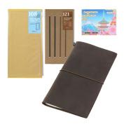 Midori Traveller's Notebook Leather BUNDLE SET , Regular Size Brown , Refill Connexion Rubber Band , Clear Zipper Case , Original Sticky Notes