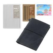 Midori Traveller's Notebook Leather BUNDLE SET , Passport Size Black , Refill Connexion Rubber Band , Clear Zipper Case , Original Sticky Notes