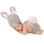 SMARTSTAR Cute Cartoon Rabbit Style Infant Newborn Girl Boy Crochet Beanie Hat Clothes Baby Photograph Props