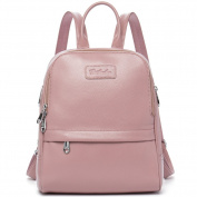 BOSTANTEN Women Leather Backpack Purse Satchel Shoulder School Bag Rucksack for College Pink Small
