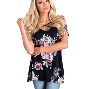 Women Blouse ,Women Floral Print Short Sleeve Crisscross Front V Neck Blouse Tops