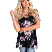 Women Blouse ,Women Floral Print Short Sleeve Crisscross Front V Neck Blouse Tops