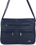 Ladies Faux Leather Summer Fashion Shoulder - Cross Body Bag with Dual Zipped Compartments in Navy