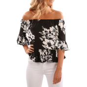 Women Blouse ,Women Off Shoulder T-Shirt Short Sleeve Print Tops Slash Neck Casual Blouse