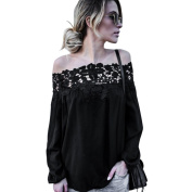 Women Blouse ,Women Summer Off Shoulder Lace Long Sleeve Tops Casual Blouse T Shirt