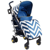 My Babiie MB51 Blue Chevron Stroller - Includes Raincover