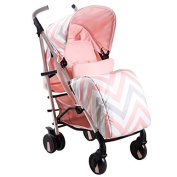 My Babiie MB51 Pink Chevron Stroller - Includes Raincover