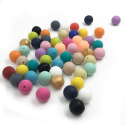 Coskiss 100pcs 0.59inch(15mm)Mixed Colour Natural Round Silicone Beads Food Grade Silicone Beads Baby Teether Toys DIY Baby Necklace/Bracelet Accessories