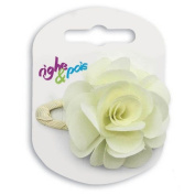 197 - 601 Hair Clip Clic Clac cm 5 Covered with Flower Fabric cm 5 - Hair Clips ivory