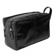 CTM Leather Top Zip Travel Toiletry Kit