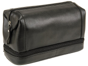 Primehide Mens Bottom Zip Top Frame Leather Wash Toiletry Bag, Wet Pack - 920