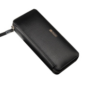 Leather Zip Around Clutch Business Long Wallet Purse with 3 Large Cash Compartment
