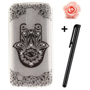 LG K10 Case,LG K10 Cover,3D Bling Glitter Soft Case For LG K10,TOYYM Ultra Slim Clear Transparent Crystal Beautiful Pattern Case Bumper TPU Silicone Back Case Cover For LG K10