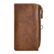 ZLYC Unisex Retro Style Handmade Leather Purse Long Clutch Wallet with ID Window and Removable Card Case