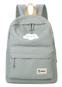 Girls Canvas School Bag 37cm Laptop Bag Lovely Cloud Printing Backpack