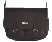 Mens - Ladies Expandable Canvas Messenger Bag with Fold Over Flap in Black
