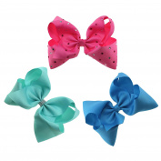 Yiho 3pcs Large Hair Bows 20cm Grosgrain Ribbon Boutique For Girls