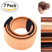 7pcs Hair Bun Maker French Twist Hairstyle DIY Women Girls with 7pcs Elastic Ponytail Holders Hair Bands, Hair Bun Clip Tool & Styling Disc Donut, 7 shades