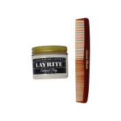Bundle -2 items : Layrite Cement Matte Hair Clay, 130ml & Salon's Choice Barber Comb