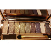 QzoneFire Women 9 Colours Waterproof Make UP Glitter Eyeshadow Palette with Brush