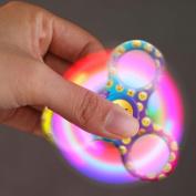 LED Light Fidget Spinner! AMA(TM) Emoji Glowing Tri-Spinner Hand Spinner Fingertip Bearing Toy Eau De Cologne Focus Decompression Gyro