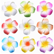 Youbami 8.9cm Hawaiian Plumeria Foam Flower Hair Clip Accessory Set Of 9 Pcs