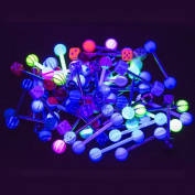 50pc 14g Tongue Ring Black UV light glow Bio-Flex and steel By Eg Gifts