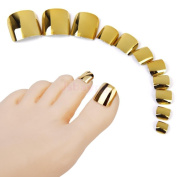 Lady Metallic False Toes Toenails Pure Gold Mirror Surface Manicure Nail Tips 24pcs/set N11